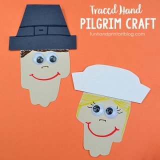 Make traced hand pilgrims from paper as an easy kindergarten Thanksgiving craft