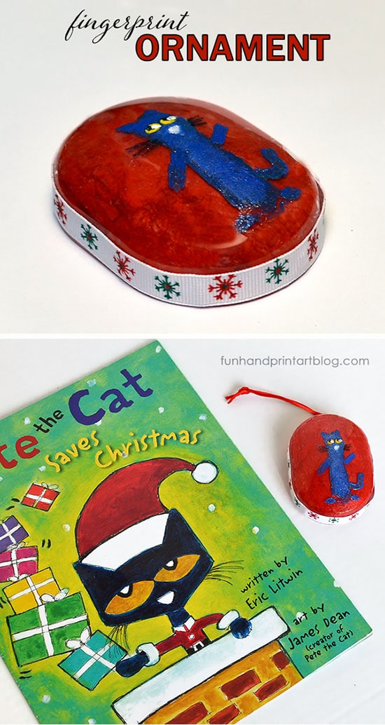 DIY Pete The Cat Fingerprint Christmas Ornament Idea