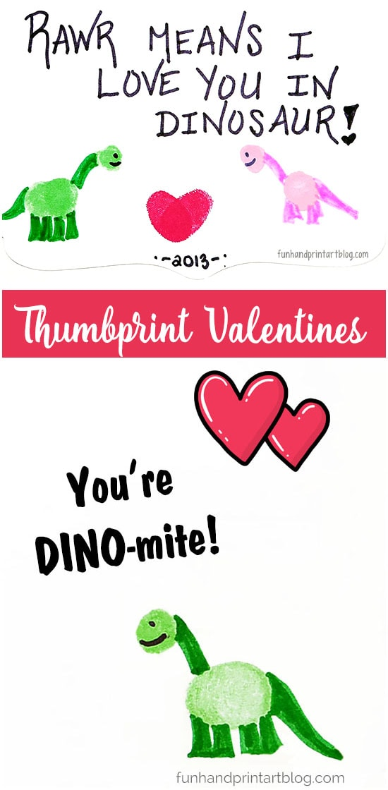Cute Fingerprint And Thumbprint Dinosaur Cards With Sayings - Cute for parents & grandparents