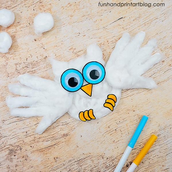 Handprint Snowy Owl Craft With Printable