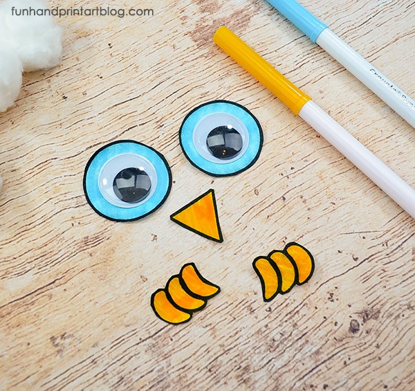 construction paper owl craft for Winter