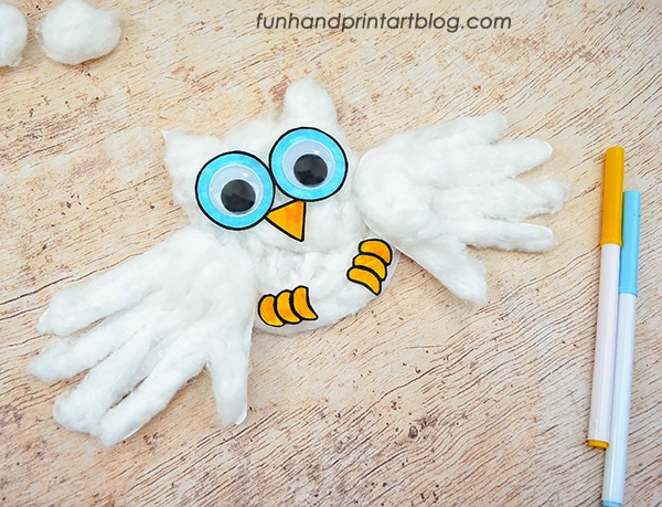 Printable Handprint Snowy Owl Craft & Template