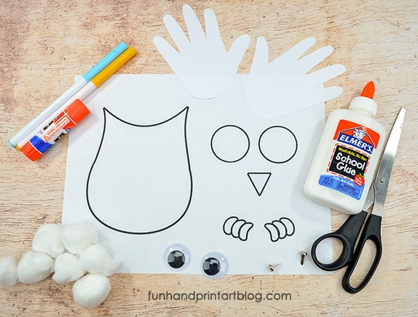 Printable Winter Owl Craft Supplies: Snowy Owl Craft Template
