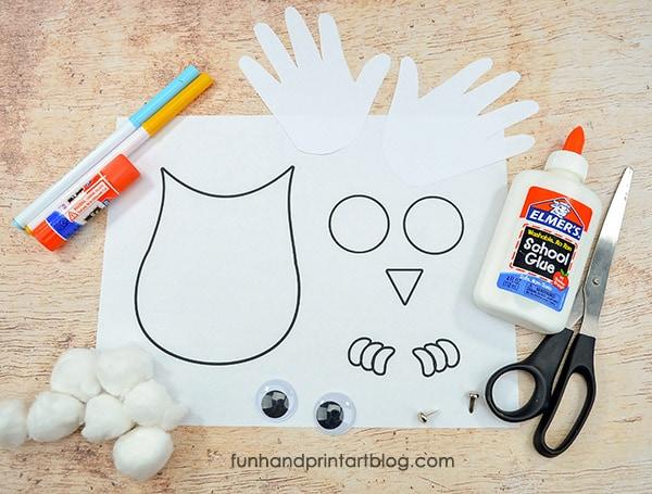 Printable Winter Owl Craft Supplies: Snowy Owl Craft Template