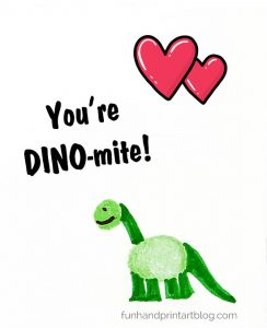 Fingerprint Dinosaur Card - You're DINO-MITE! Saying