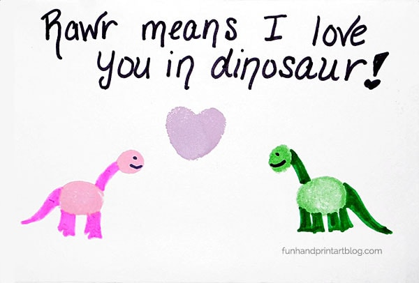 RAWR! means I Love You in dinosaur thumbprint card idea for Valentine's Day or other holidays