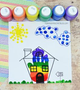 Cute Rainbow House Handprint Craft to Trick Leprechauns