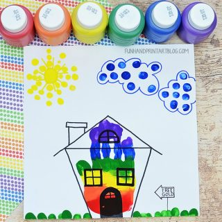 Cute Rainbow House Handprint Craft to Trick Leprechauns