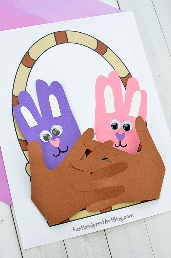 Paper Easter Basket Craft With Hand Shaped Bunnies & Printable Template