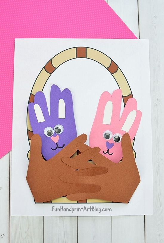 Cute Easter Bunny Craft For Preschoolers Made By Tracing Hands