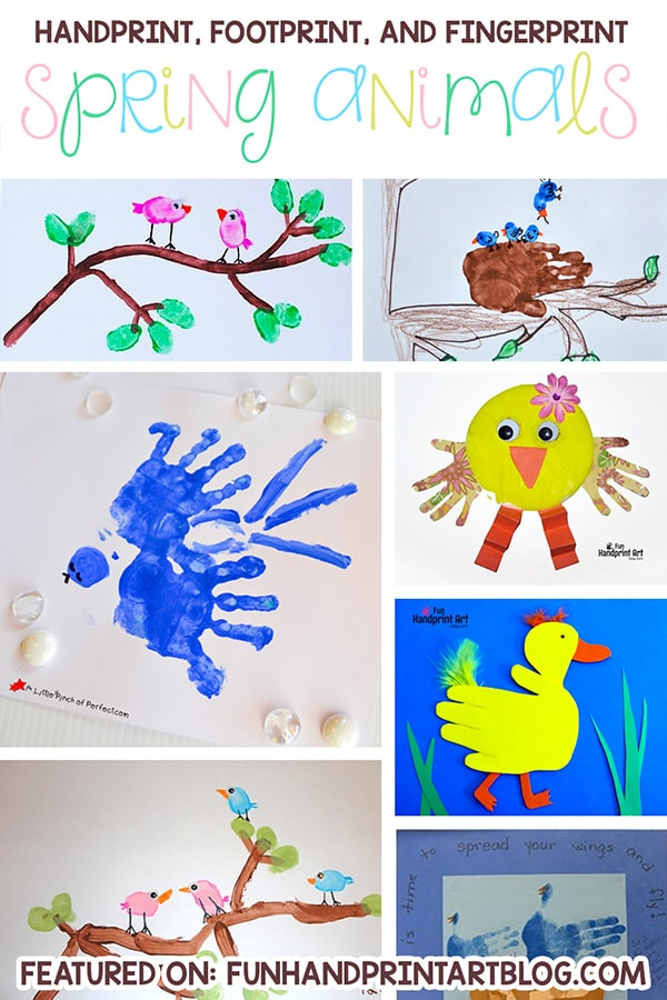 Handprint, Footprint, and Fingerprint Spring Animal Arts and Crafts