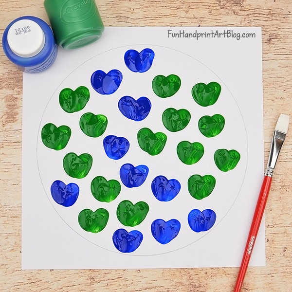 Fingerprint Earth Heart Art Project For Preschoolers