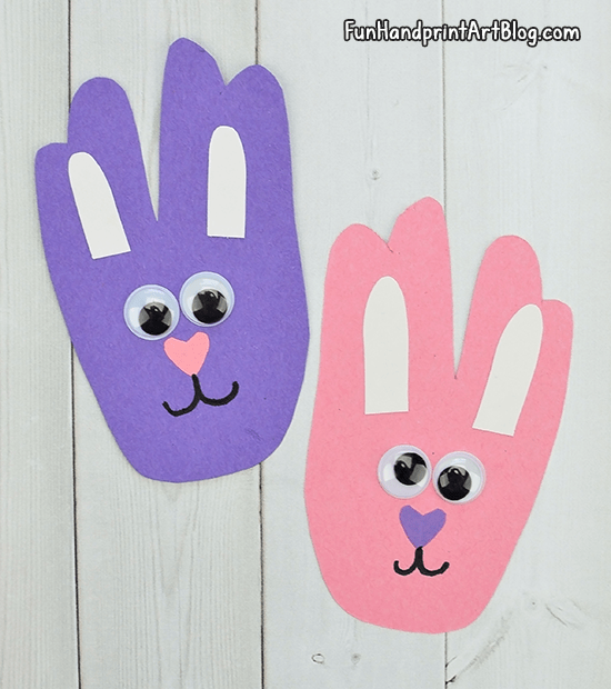 Handprint Easter Bunnies From Construction Paper