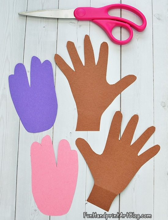 How to make Easter Bunny Handprints From Paper