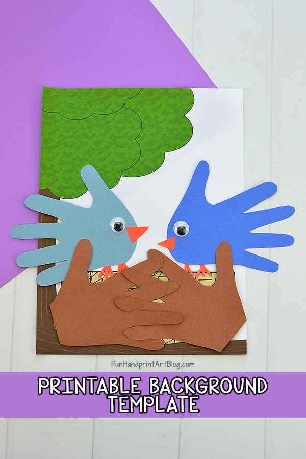 Cute Paper Bluebirds in a Nest made using template & hand shapes