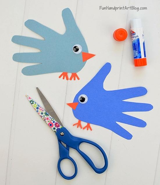 Hand Shaped Paper Bluebirds