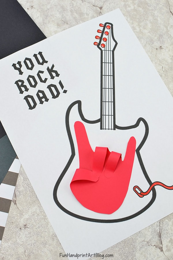 Rock on! Handprint Guitar Card for Dad with Template