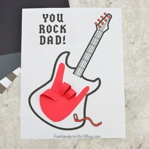 'Dad You Rock Card' for Father's Day with printable guitar template