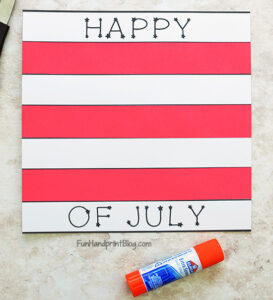 Glue Red Paper Stripes to Template
