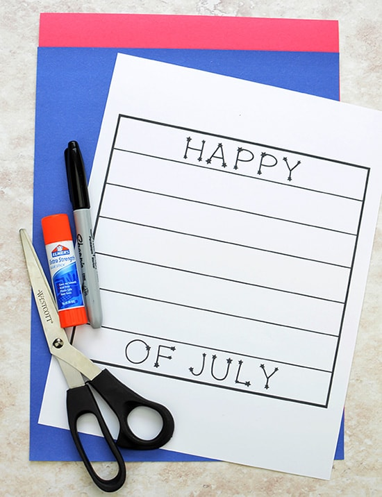 Happy 4th of July Craft Template