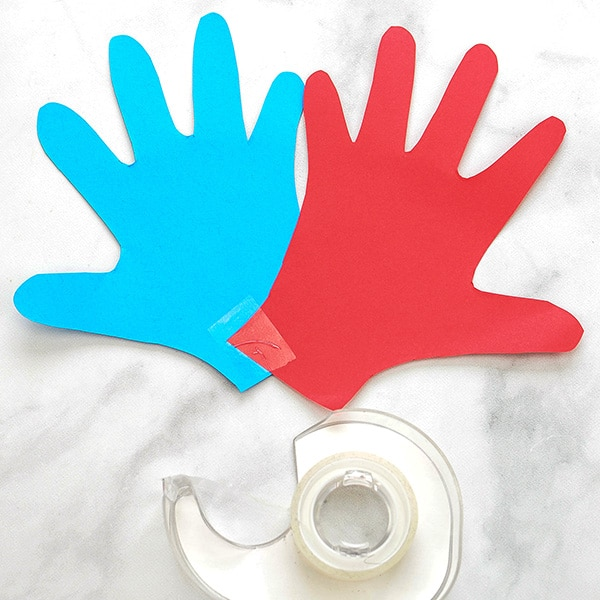 Traced Red & Blue Hand Paper Cutouts