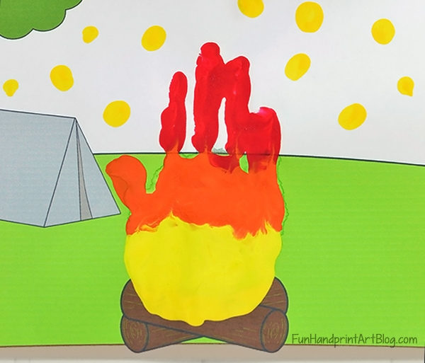 Summer Campfire Handprint Craft - red, orange, & yellow painted hand print