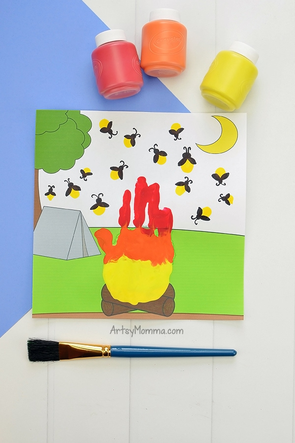 Printable Campfire Handprint Craft with Fingerprint Fireflies