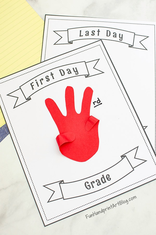 image about Printable Handprint Template named Printable Initial and Final Working day of University Indicators - Enjoyable Handprint Artwork