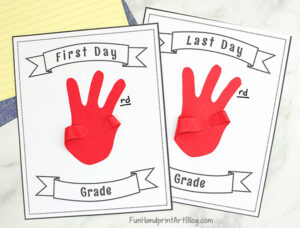 First and Last Day of School Printable Handprint Craft with Template to glue hand shape to