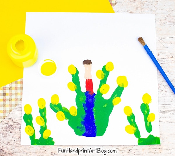 Fingerprint Corn Stalks - add yellow fingerprints to green 'finger' stalks
