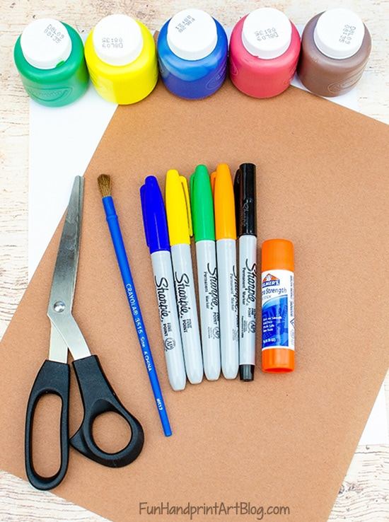 Scarecrow Craft Supplies: construction paper, markers, paint, paintbrush, scissors, glue