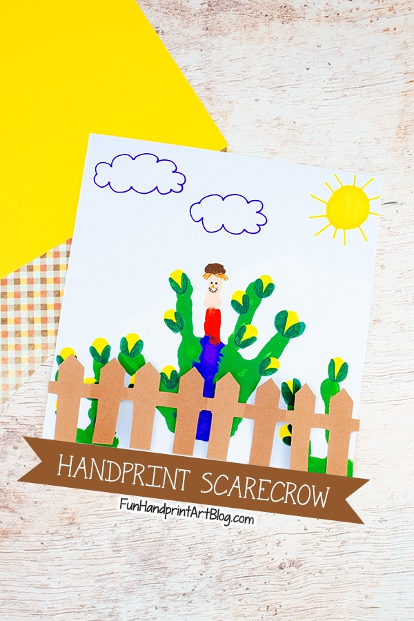 Handprint Scarecrow Craft for Fall with Fingerprint Corn & Accordion Fold Paper Fence
