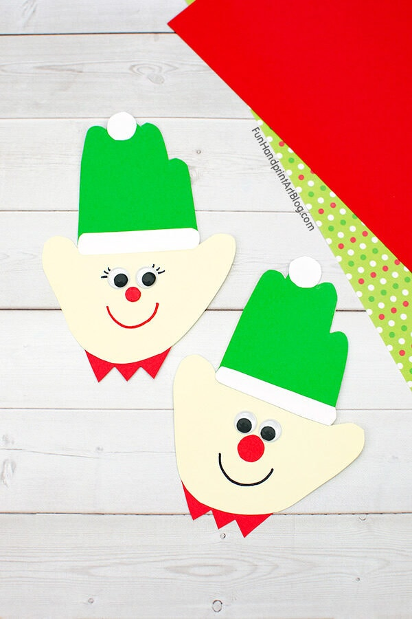 Handprint Elves made from paper
