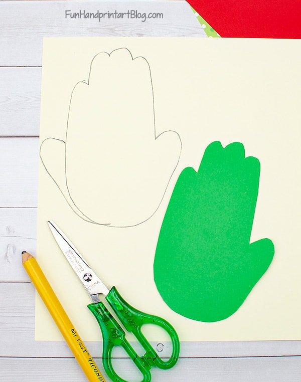 Traced Paper Hands on green and skin colored cardstock