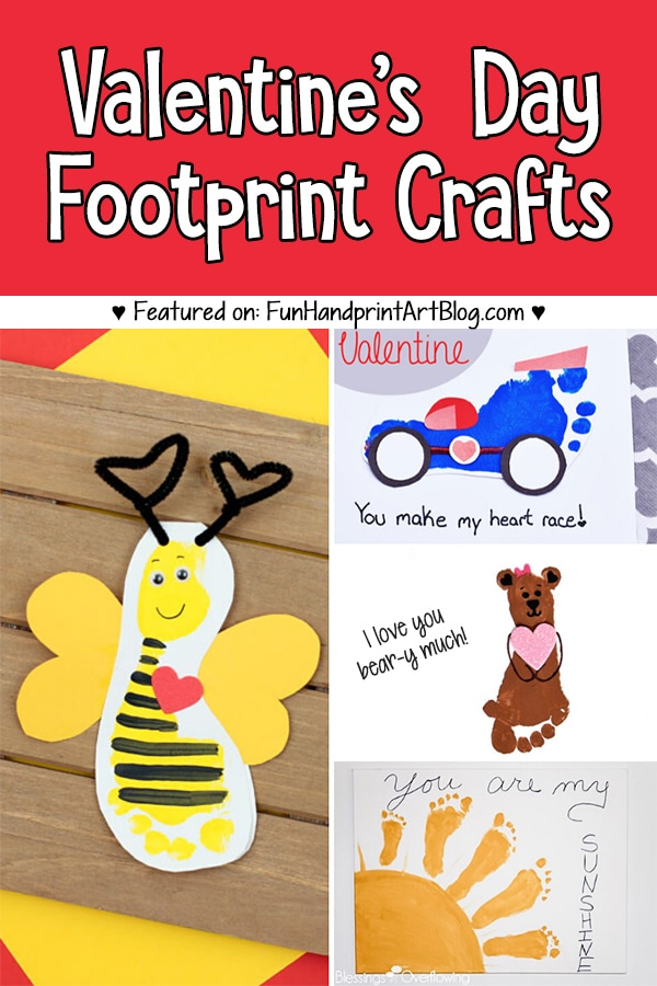 Preschool Valentine's Day Ideas made with footprints