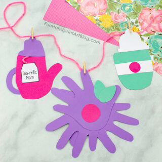 Mother's Day Handprint Tea Pot, Flower, and To Go Coffee Cup Banner