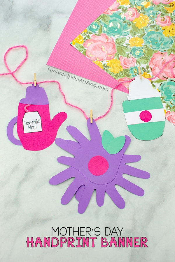 Paper Mother's Day Banner with Teapot, Purple Flower, To Go Coffee