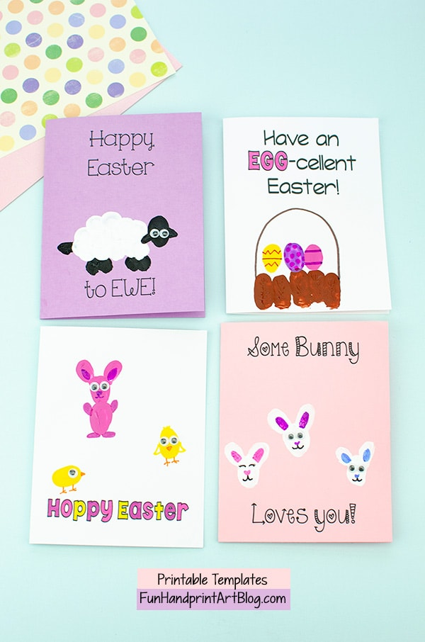 4 Thumbprint Easter Cards with Sayings