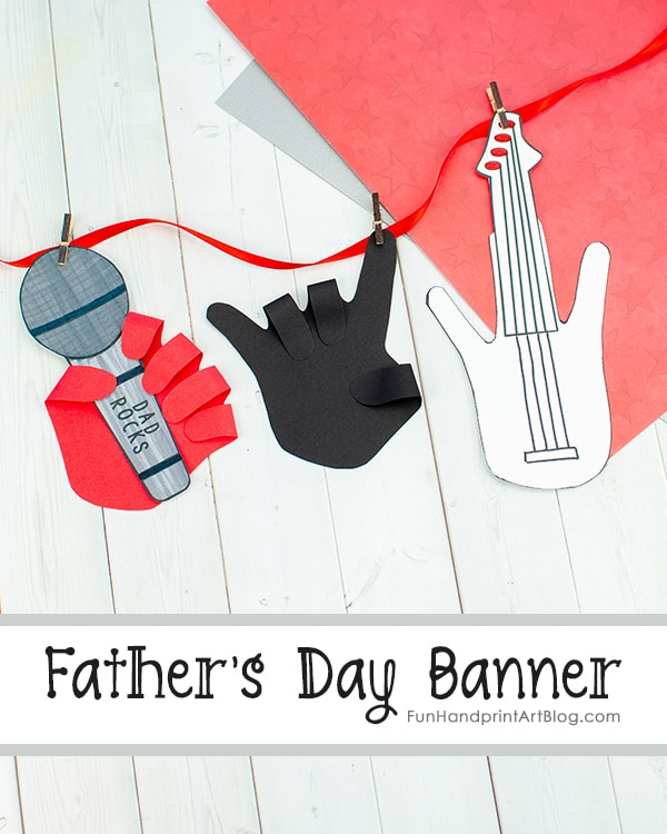 Dad Rocks Paper Banner Craft with Template