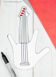 Lines drawn on paper guitar craft