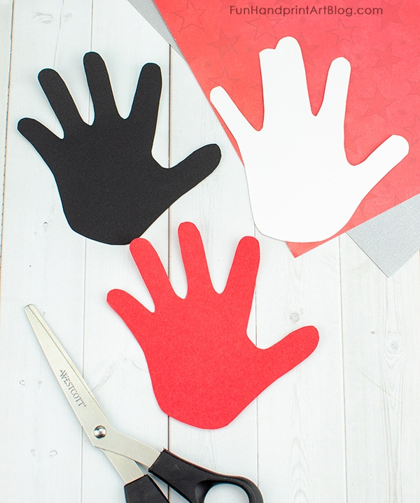 Red, White, & Black Hand Shapes from Construction Paper