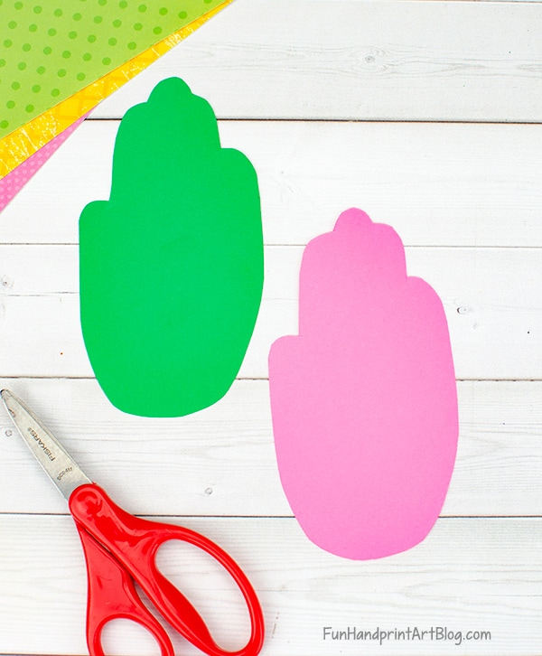Pink and Green Hands cut from paper
