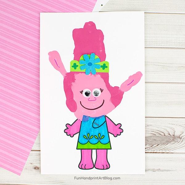 Trolls Poppy Handprint Craft