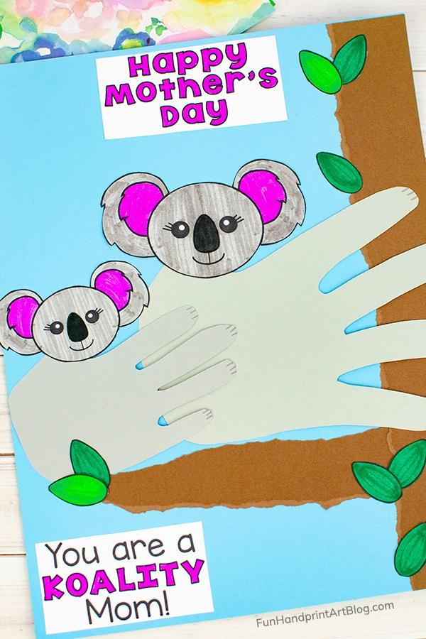 Handprint Koala Craft made with template