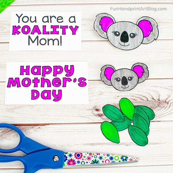 Koala Sayings for Mother's Day, Koala Faces, Leaves