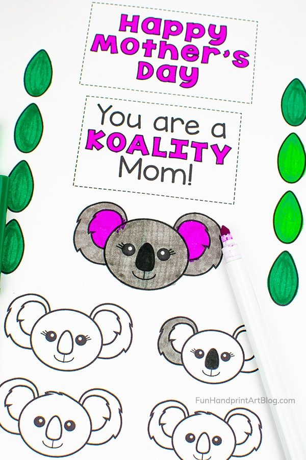 Koala Faces to color in and Koala saying