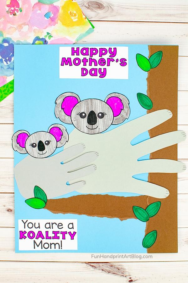 Mommy and Me Handprint Koalas in tree