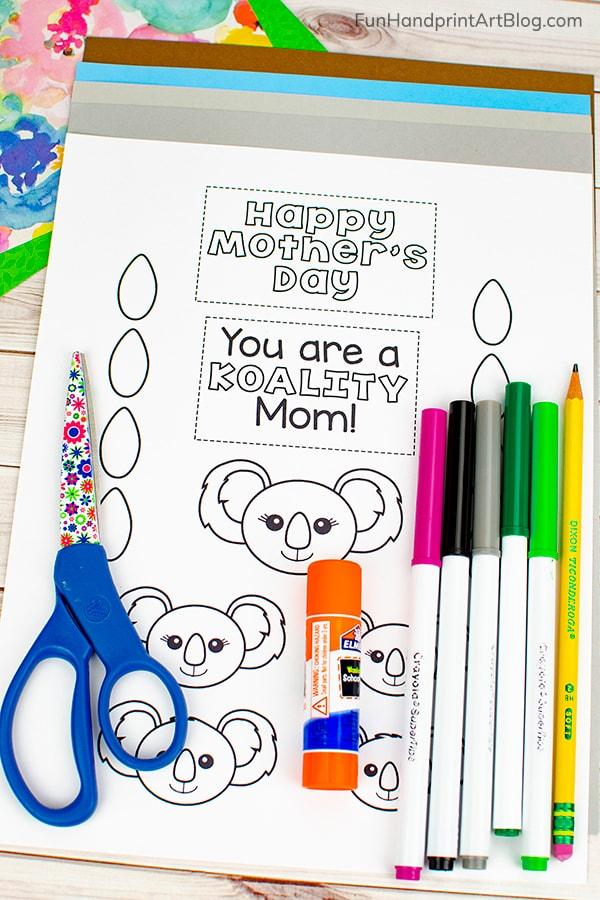 Koala Template, markers, construction paper, glue, scissors