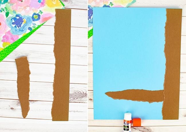 torn paper tree - brown