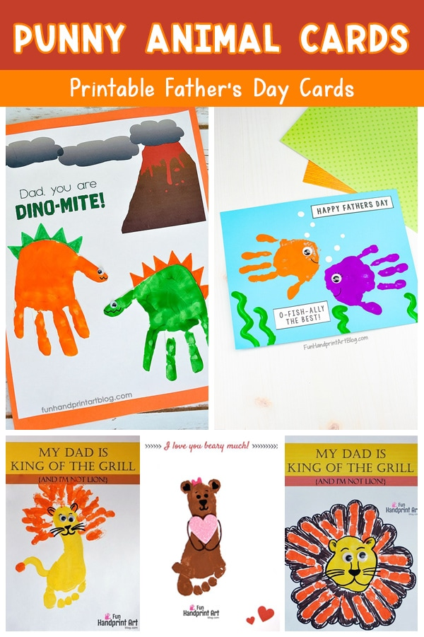 Father's Day Animal Cards with Puns - kids craft